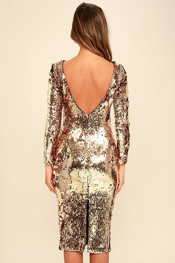 Sale Gold Sequin Midi Dress All