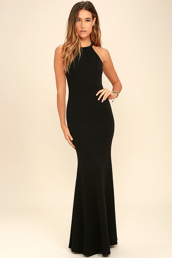 Girl in the Mirror Black Beaded Maxi Dress 1