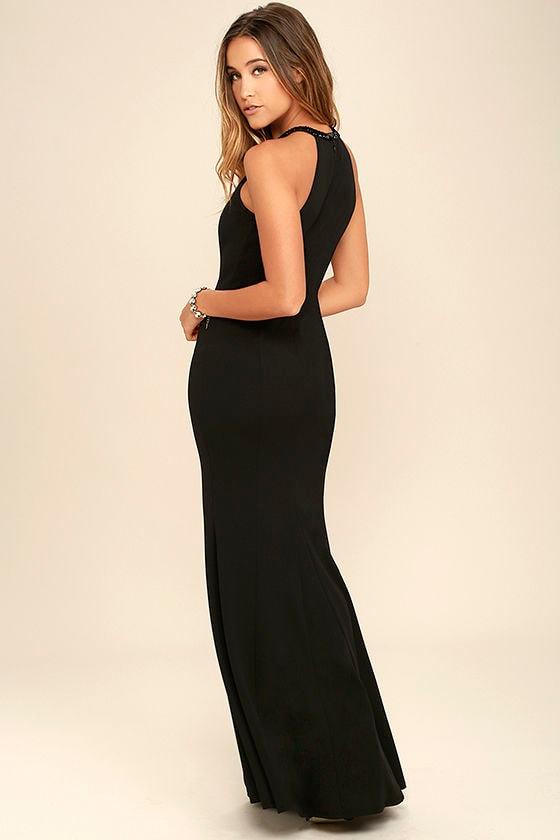 Girl in the Mirror Black Beaded Maxi Dress 3