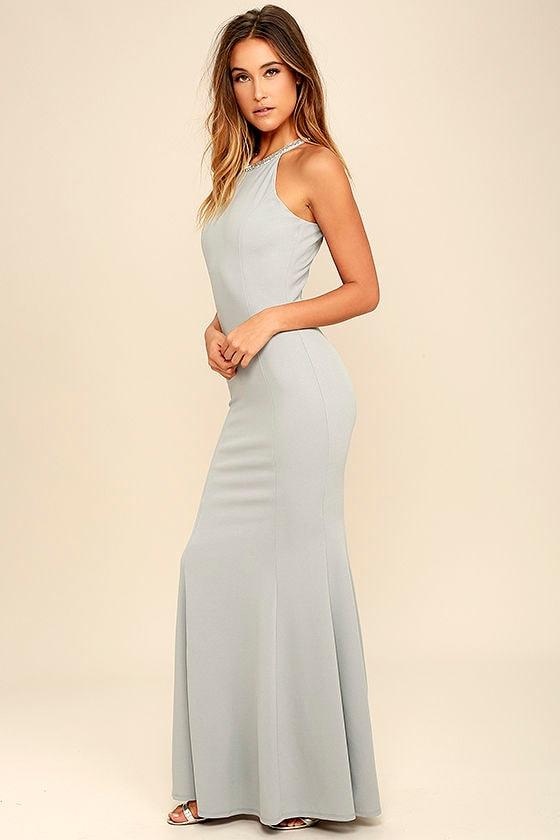 c49304a20d9c Lovely Light Grey Dress - Beaded Dress - Maxi Dress -  78.00