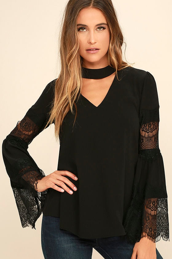a9aeea636f0cc2 Cute Black Lace Top - Long Sleeve Top - Bell Sleeve Top -  42.00