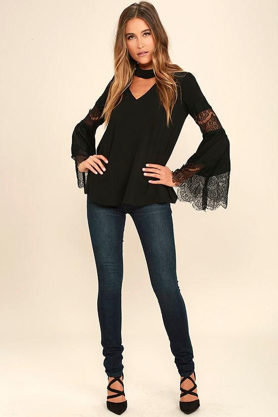 1b051cd46c973 Cute Black Lace Top - Long Sleeve Top - Bell Sleeve Top -  42.00