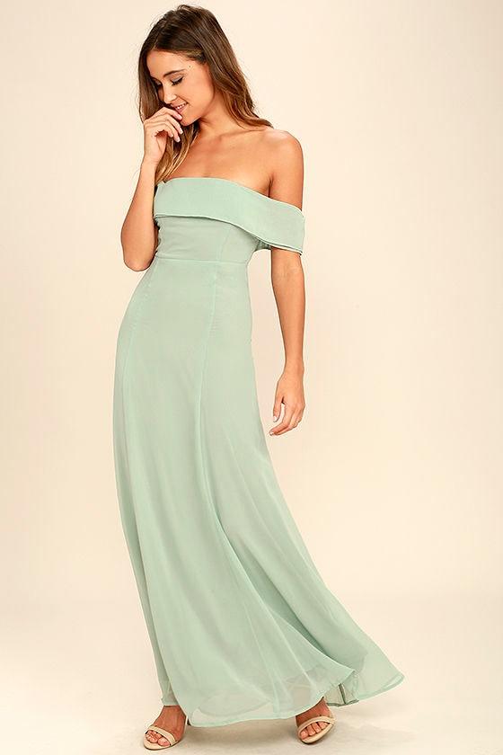 7289b4a4d221 Lovely Sage Green Dress - Off-the-Shoulder Dress - Maxi Dress - Gown -   68.00