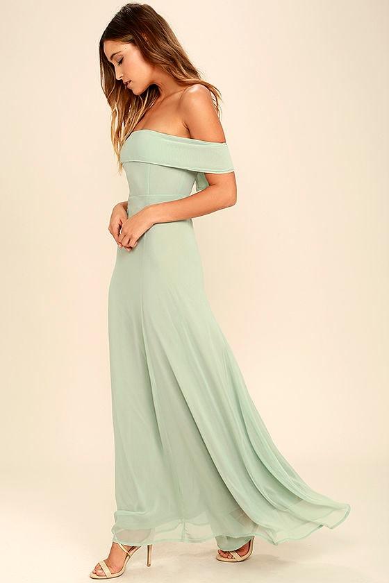 d44decf75079 Lovely Sage Green Dress - Off-the-Shoulder Dress - Maxi Dress - Gown -   68.00