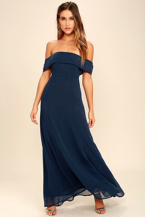 Lovely Navy Blue Dress - Off-the-Shoulder Dress - Maxi Dress ...