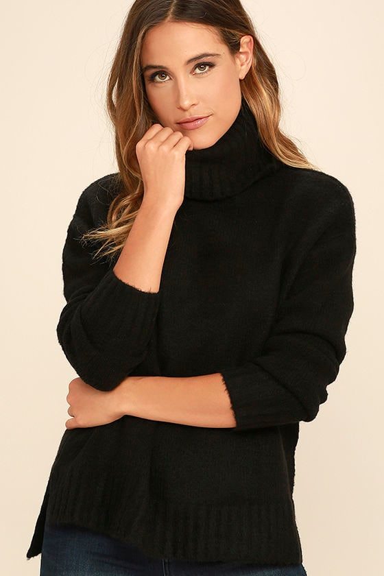 Cozy Black Top - Turtleneck Sweater - Knit Sweater - $72.00