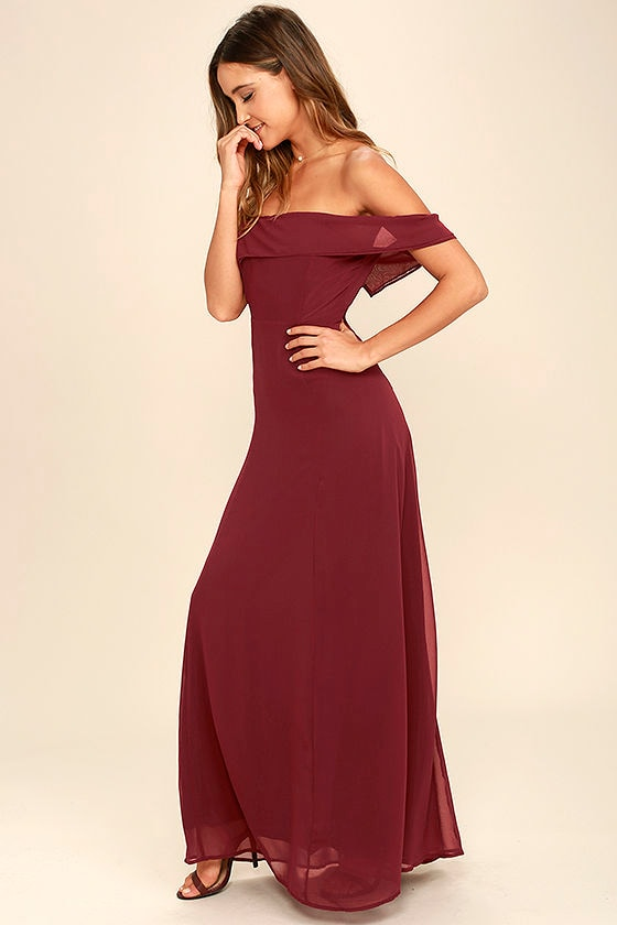 ab1c6ffbd5ed Lovely Wine Red Dress - Off-the-Shoulder Dress - Maxi Dress - Gown ...