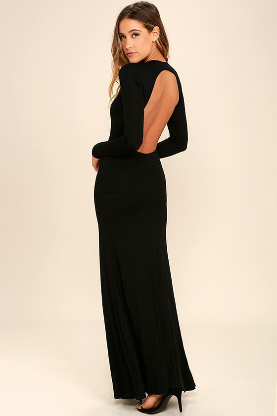 Sexy Backless Dress - Backless Maxi - Long Sleeve Dress - Maxi ...