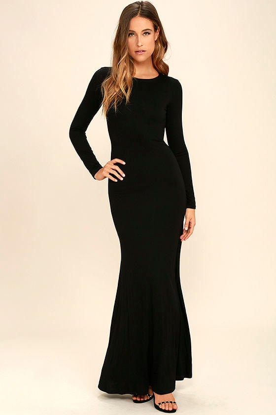 4681f389fdf Sexy Black Backless Dress - Backless Maxi -Long Sleeve Dress