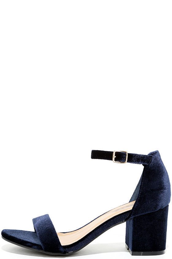For Real Navy Velvet Ankle Strap Heels 1