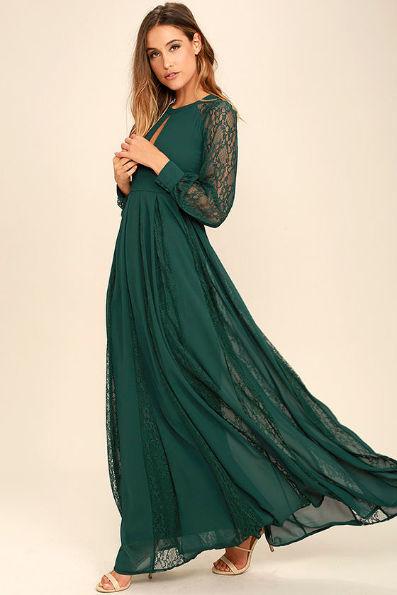 Lovely Forest Green Dress - Maxi Dress - Lace Dress - Long Sleeve ...