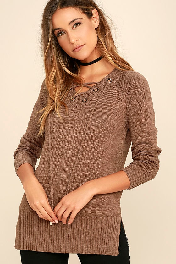 Cute Brown Sweater - Lace-Up Sweater - Brown Lace-Up Top -  42.00 64ae6e8fa