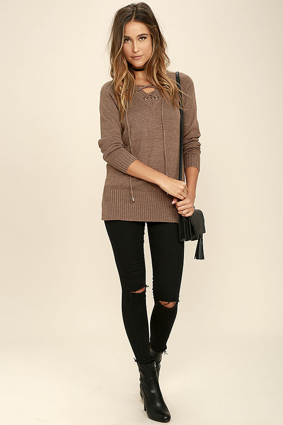 Chic Cred Brown Lace-Up Sweater 2