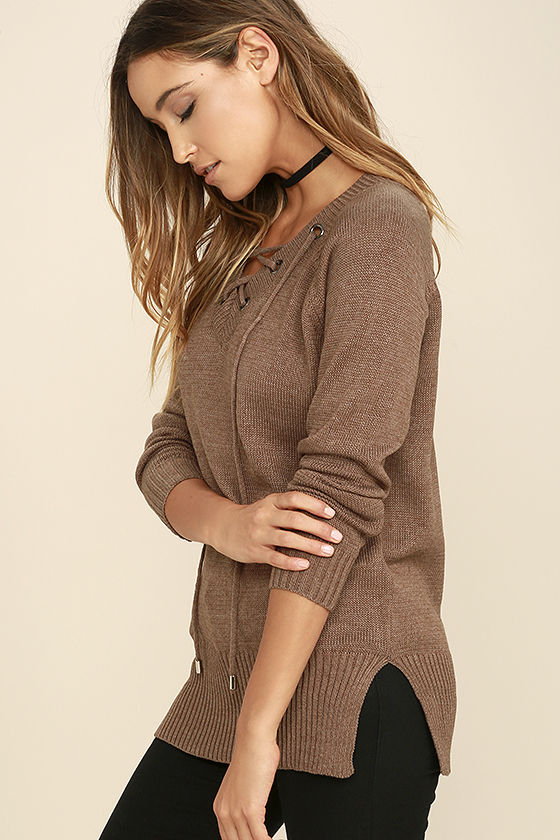 Chic Cred Brown Lace-Up Sweater 3
