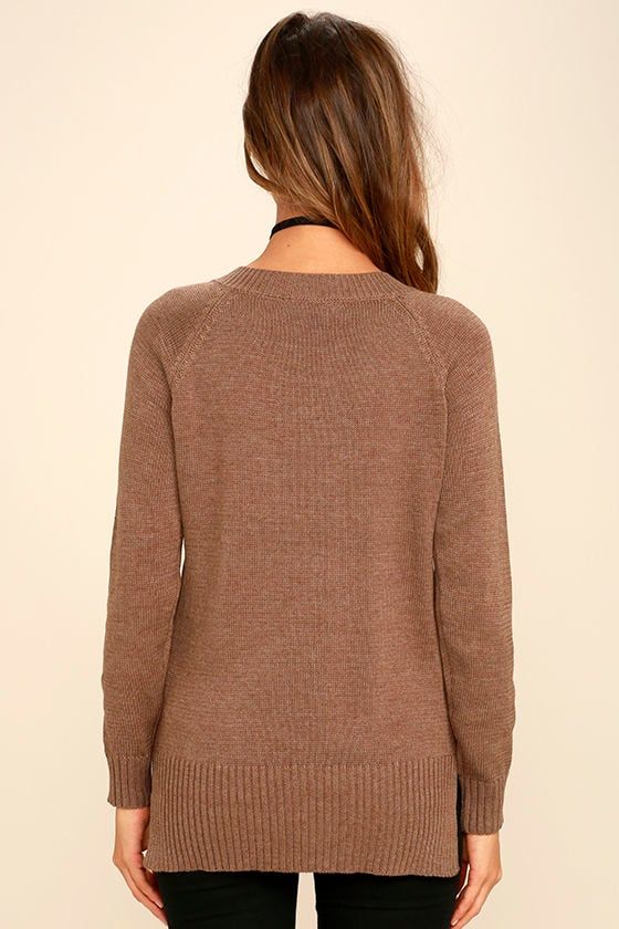 Chic Cred Brown Lace-Up Sweater 4