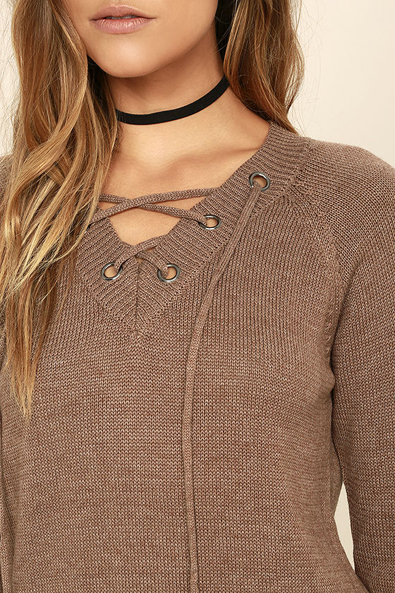 Chic Cred Brown Lace-Up Sweater 5