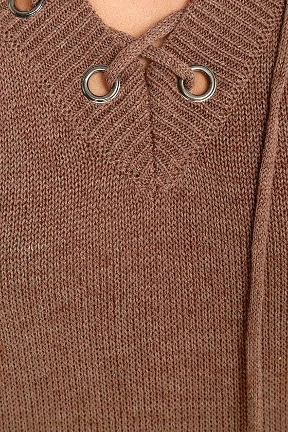 Chic Cred Brown Lace-Up Sweater 6
