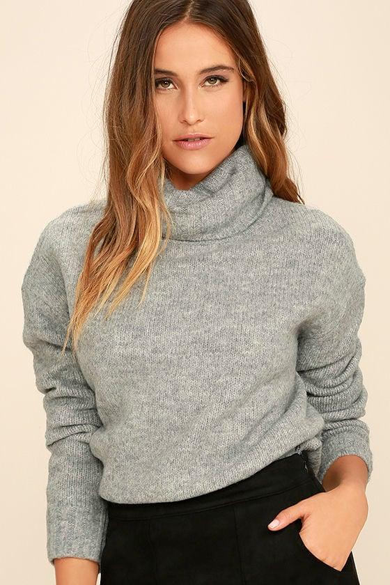 Favorite Dream Heather Grey Turtleneck Sweater 4