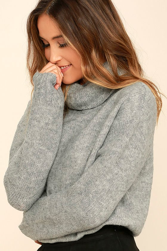 Cozy Heather Grey Top - Turtleneck Sweater - Knit Sweater - $72.00