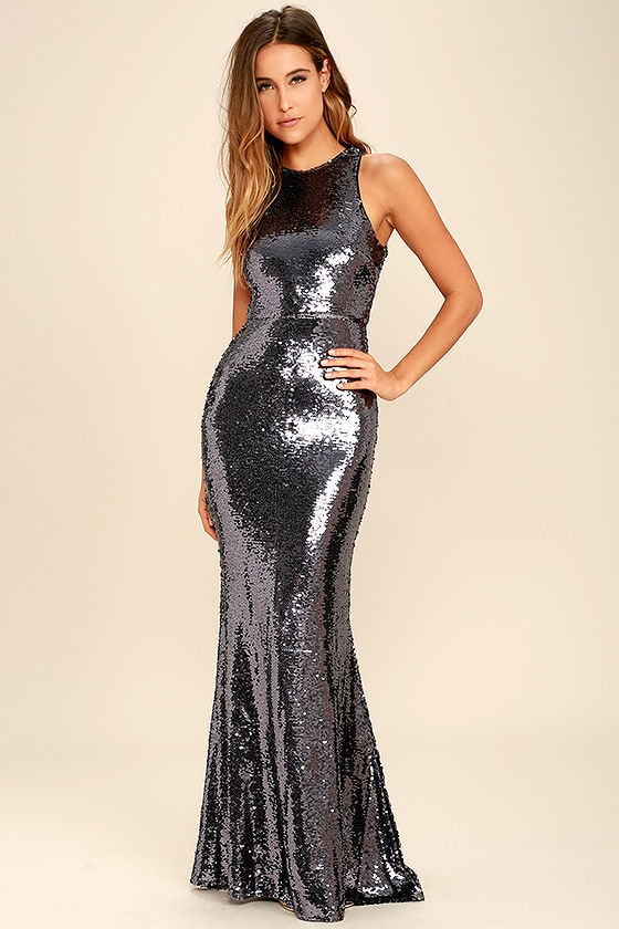 Silver Sequin Long Dress