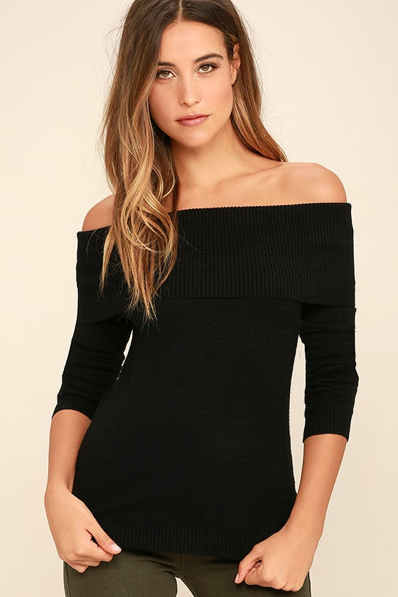 Cozy Black Sweater - Off-The-Shoulder Sweater - Long Sleeve Top ...