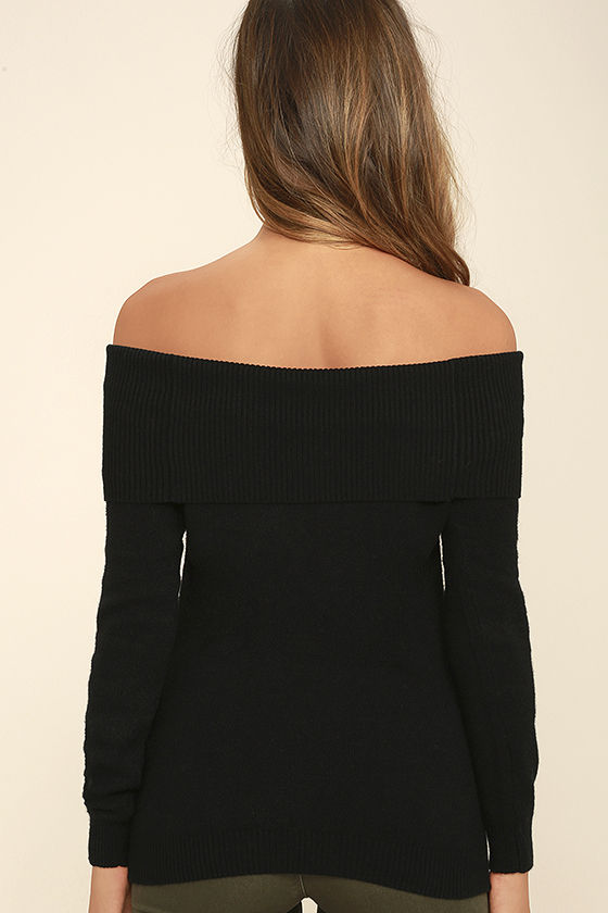 That's What Friends Are For Black Off-the-Shoulder Sweater 4