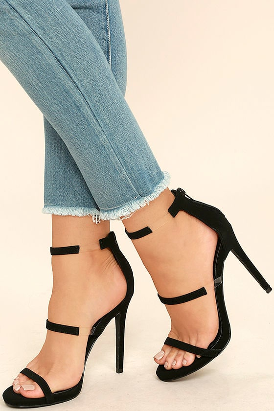 Chic Black Heels - Nubuck Heels - High Heel Sandals - Lucite Heels ...