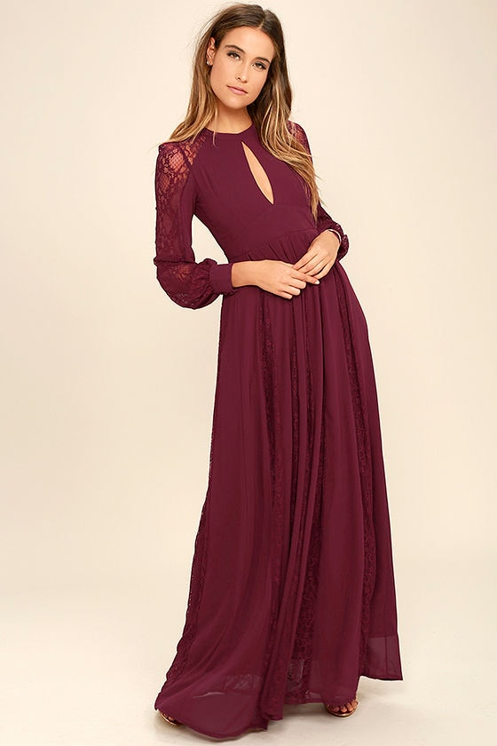1dc68852ed06 Lovely Burgundy Dress - Maxi Dress - Lace Dress - Long Sleeve Dress -  78.00