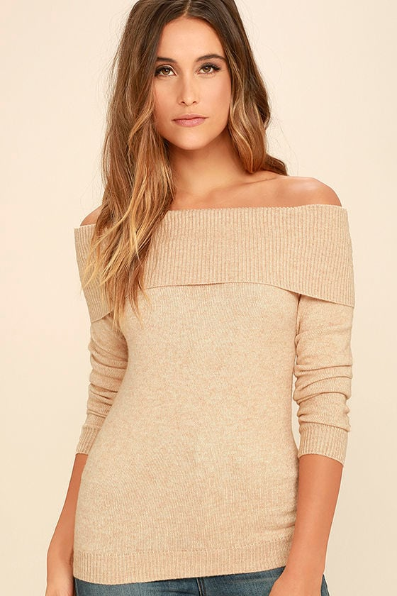 Cozy Beige Sweater - Off-the-Shoulder Sweater - Long Sleeve Top ...