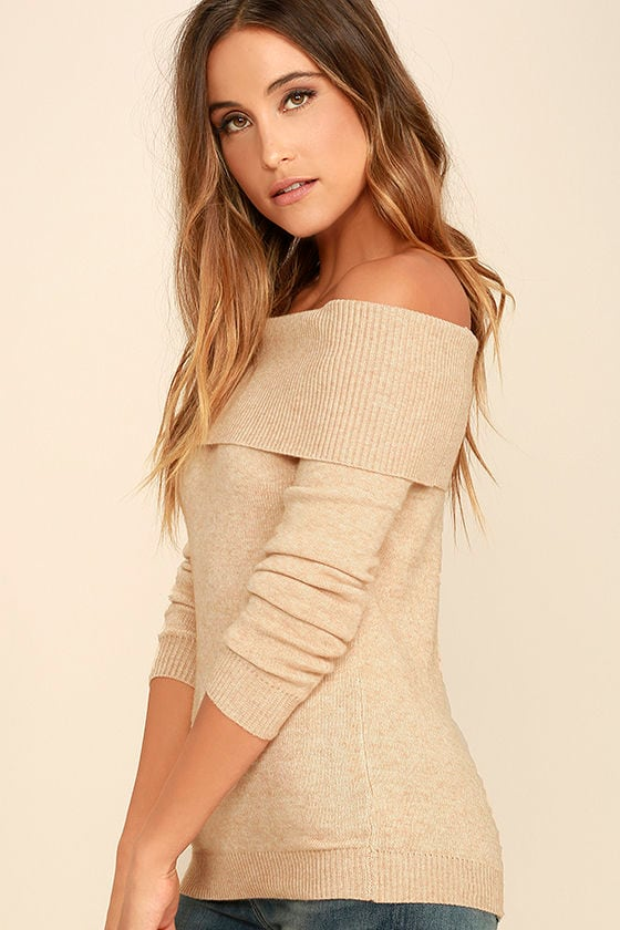 That's What Friends Are For Beige Off-the-Shoulder Sweater 3