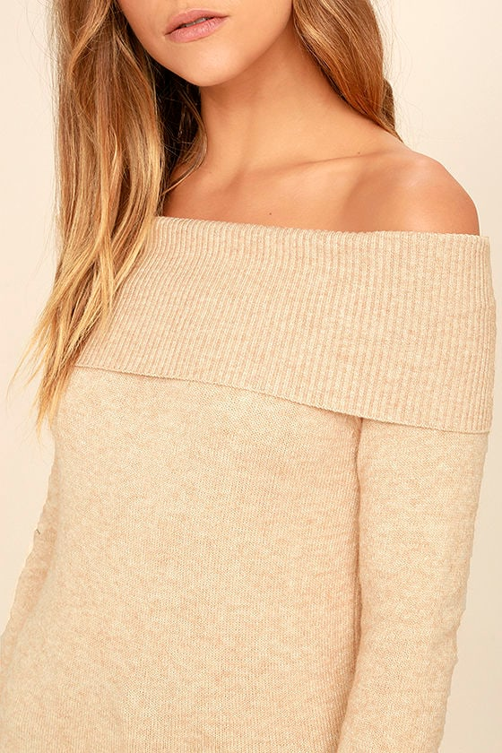 That's What Friends Are For Beige Off-the-Shoulder Sweater 5