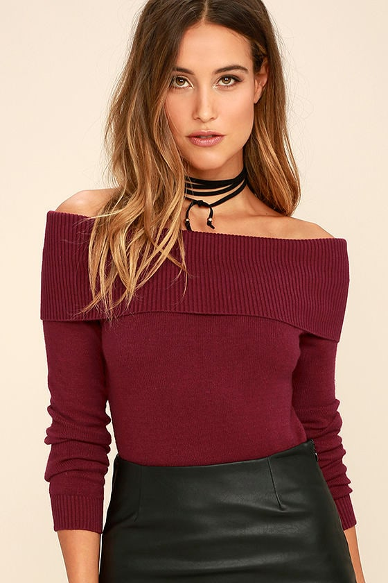 Cozy Burgundy Sweater Off The Shoulder Sweater Long