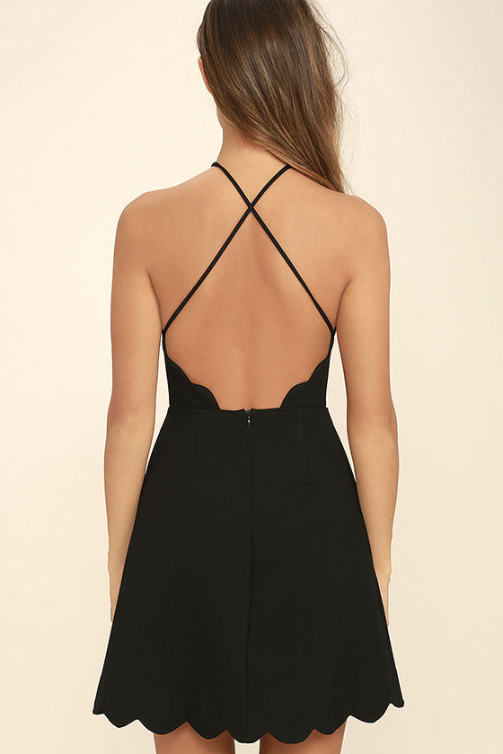 Your Everything Black Backless Skater Dress 4