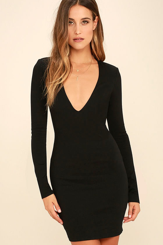 Chic Black Dress - Long Sleeve Dress - Bodycon Dress - $49.00