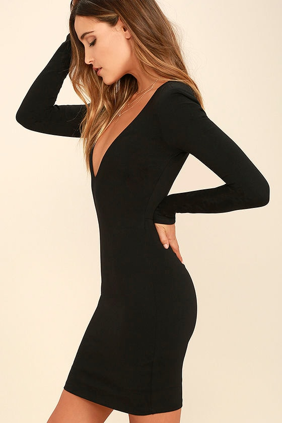 Chic Black Dress - Long Sleeve Dress - Bodycon Dress - $49.00