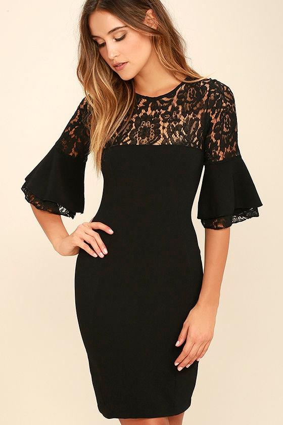 chic black dress lbd lace dress bodycon dress 5400
