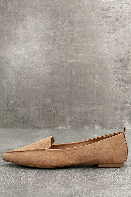 576cb04bc06 Pointed Camel Loafers - Loafer Flats - Vegan Suede Loafers