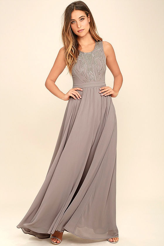 Lovely Grey Dress - Maxi Dress - Beaded Dress - $84.00