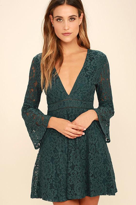 d79487d6e0df Lovely Forest Green Dress - Lace Dress - Long Sleeve Dress -  58.00