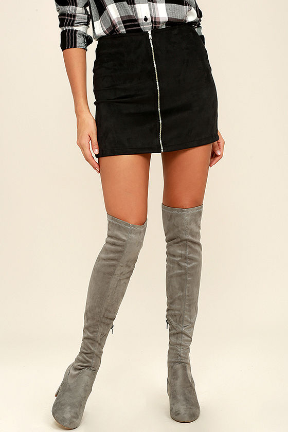 Stylish Grey Suede Boots - Over the Knee Boots - Grey Boots - $46.00