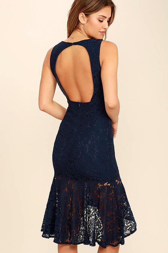 24f60ce3c3b5 Sexy Navy Blue Dress - Lace Dress - Midi Dress - Bodycon Dress -  57.00