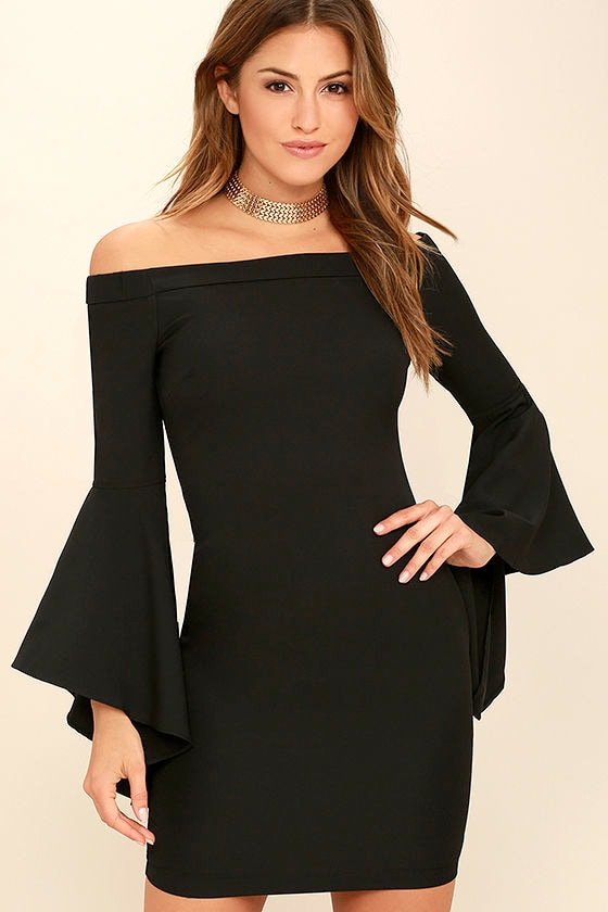 43fdb1c79c84 Lovely Black Dress - Off-the-Shoulder Dress - Bell Sleeve Dress -  62.00