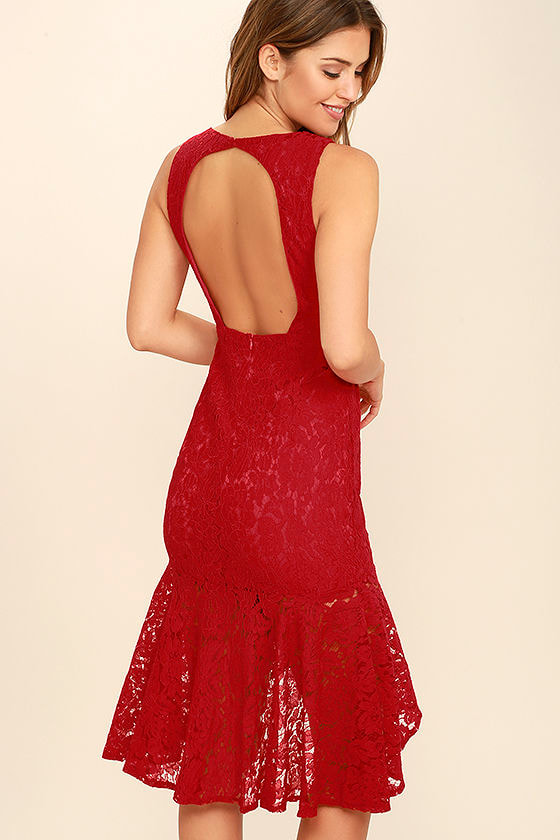 Next to You Red Lace Midi Dress
