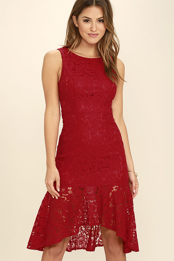 Sexy Red Dress Lace Dress Midi Dress Bodycon Dress