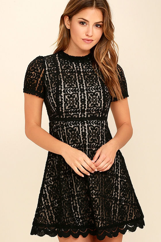 Pretty Black Lace Dress - Short Sleeve Dress - A-Line Dress - $99.00