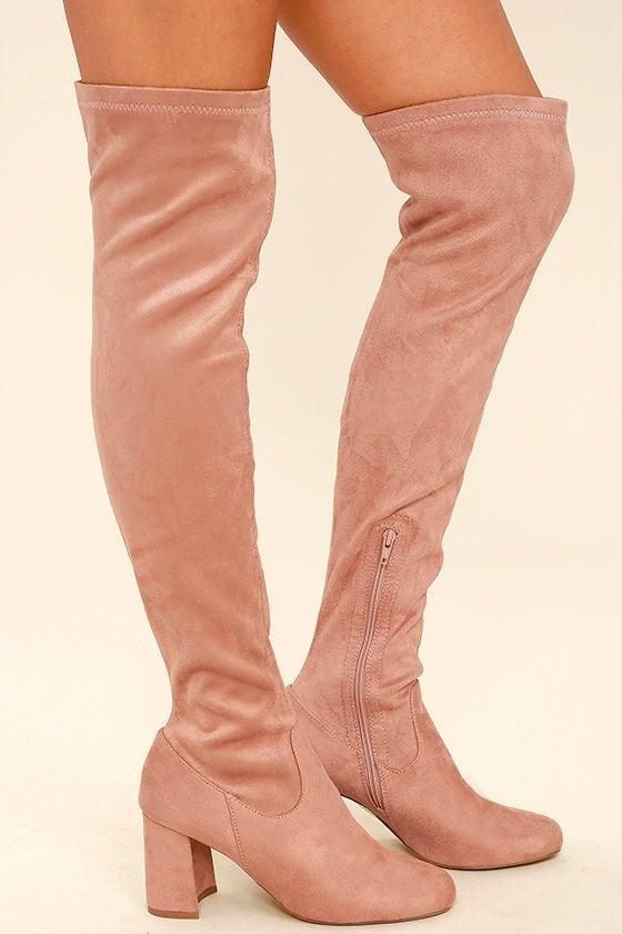 stylish mauve suede boots the knee boots mauve
