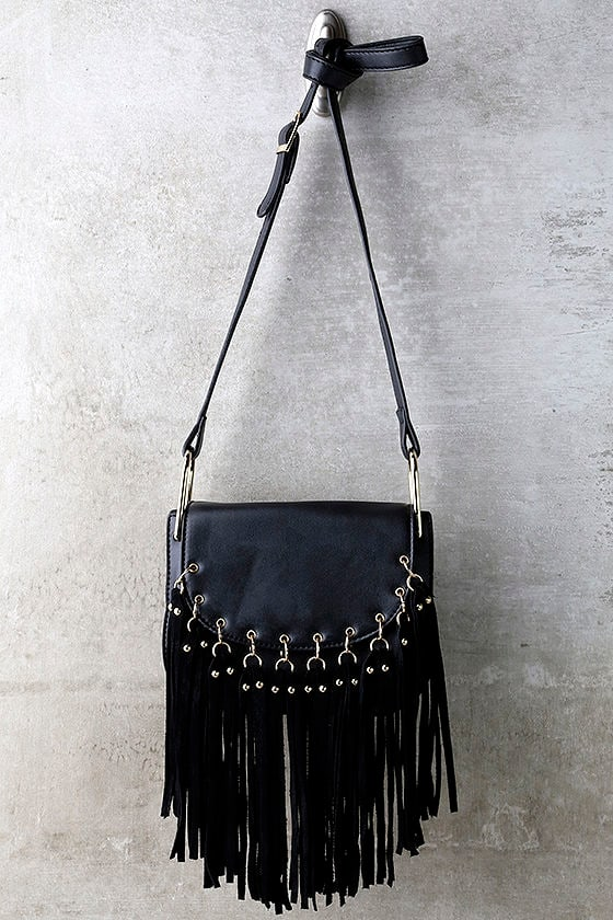 Chic Black Purse - Fringe Purse - Vegan Leather Purse -  37.00 99aa9e944d4d1