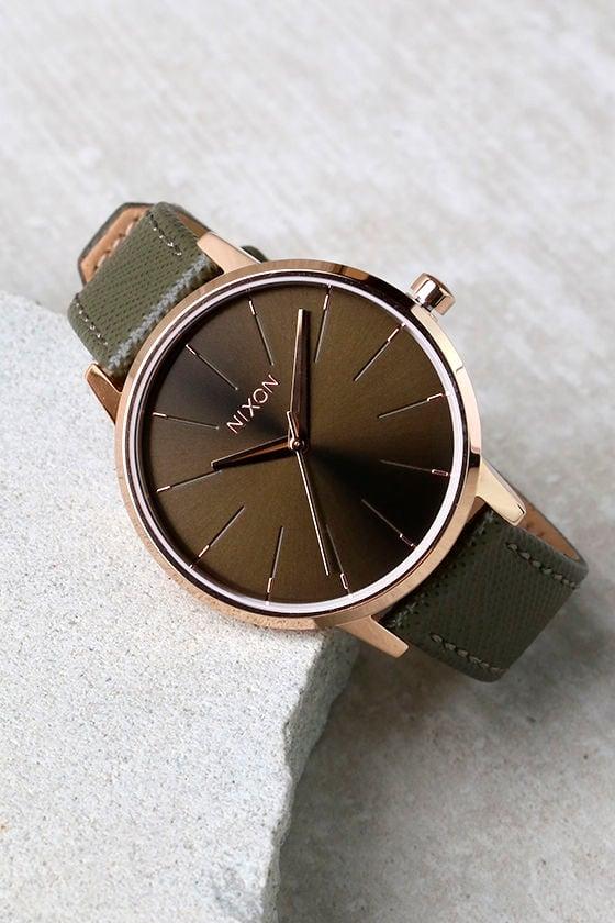fef4562b4 Nixon Kensington Leather Rose Gold Watch - Green Watch