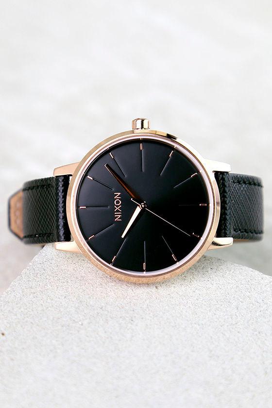 Nixon Kensington Leather Rose Gold and Black Watch 1