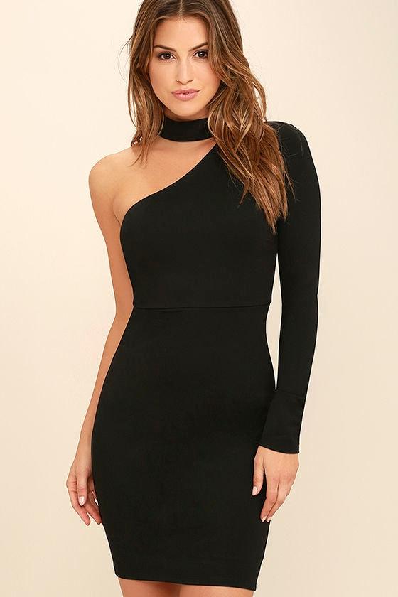 One shoulder cocktail dresses black